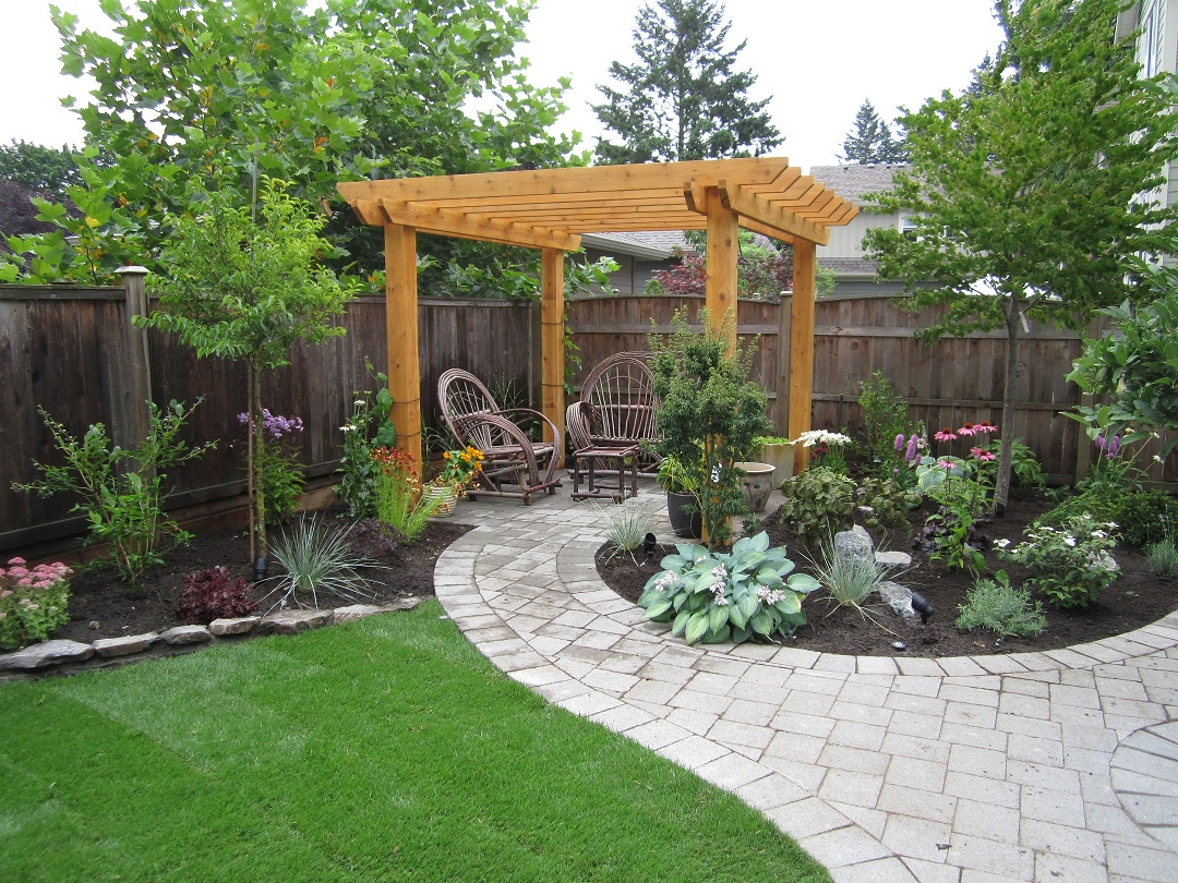 Landscaping on pinterest small backyards backyards and for Garden patio ideas